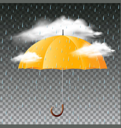 Yellow umbrella and rainy day vector