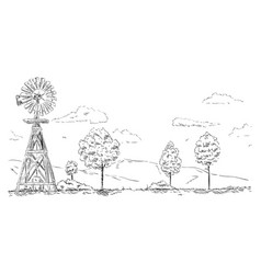 - windmill landscape vector image vector image