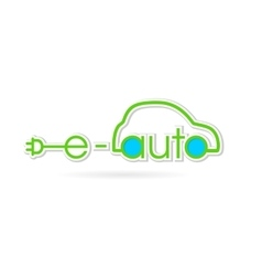 Electric auto green text logo vector image