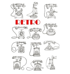 Vintage landline telephones sketch style vector