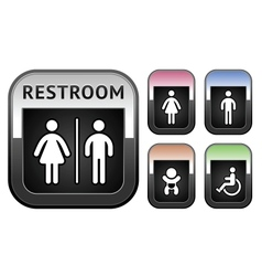 Restroom symbol metallic button vector