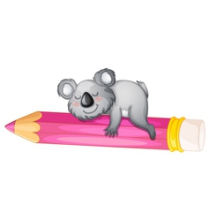 Bear sleeping on pencil vector