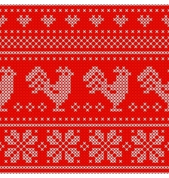 Red holiday seamless pattern with cross stitch vector