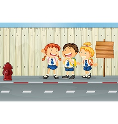 Children laughing along the road vector