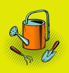 gardening tools pop art style vector image