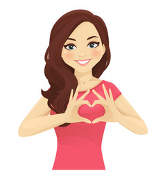 Woman making heart shape with hands vector