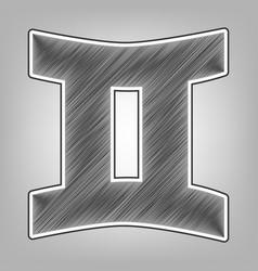 Gemini sign  pencil sketch imitation dark vector