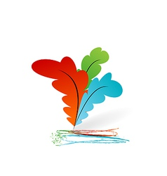 Collection colourful artistic feathers with ink vector