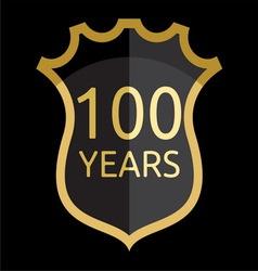 Golden shield 100 years vector image