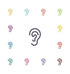 Ear flat icons set vector