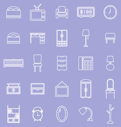 Bedroom line icons on violet background vector