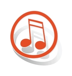 Music sign sticker 2 orange vector