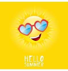 Hello summer summer smiling sun vector