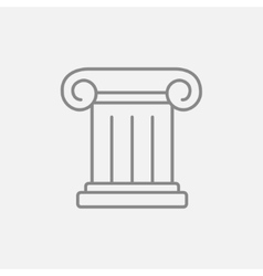Ancient column line icon vector