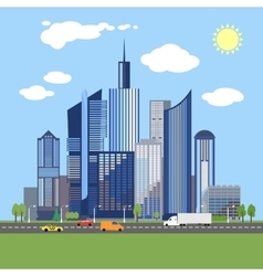 Stylish architecture design of modern city vector