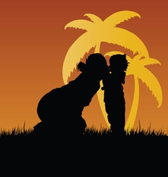 Mom kiss child silhouette in nature vector