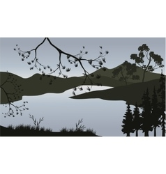 Silhouette of lake and mountain vector