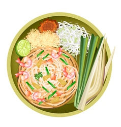 Pad thai or stir fried noodles with shrimps vector