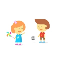Happy kids playing smiling cartoon children boy vector image