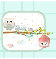 Couple of cute owls and birds sitting on branch vector