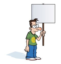 Angry man with protest sign vector image vector image