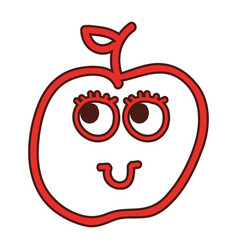 Apple fruit kawaii character vector