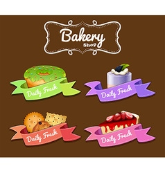 Bakery shop logo design with donut and cakes vector image