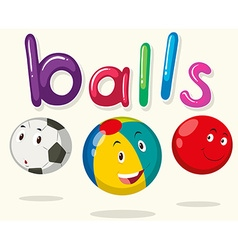 Balls with happy faces vector