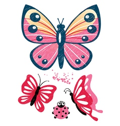 Butterfly decorative elements vector image vector image