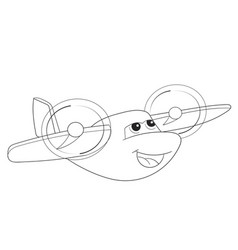 cartoon coloring plane with faces live transport vector image vector image
