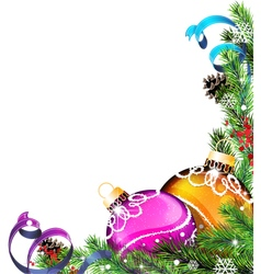 Christmas tree balls with ribbons vector