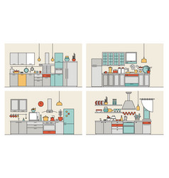 collection of kitchens furnished with modern vector image
