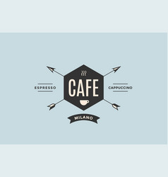 emblem of cafe with arrows vector image vector image