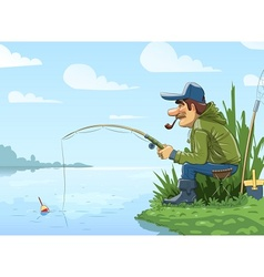 Fisherman with rod fishing on vector image vector image