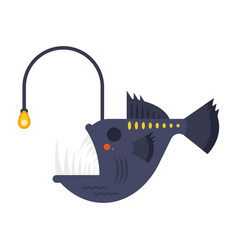 Flat style of angler fish vector