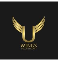 Golden u letter logo vector