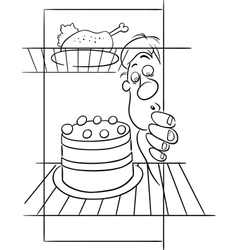 Hungry man on diet drawing vector