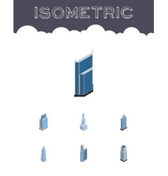 Isometric skyscraper set of cityscape residential vector