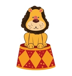 Lion circus stand cartoon design vector