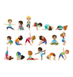 Little girls doing yoga set vector