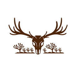 Mule deer skull joshua tree icon vector