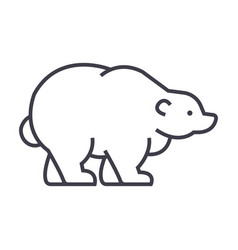 russian bear line icon sign vector image vector image