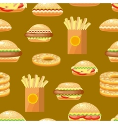 Seamless fast food background pattern with vector image vector image