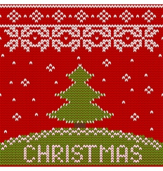 seamless knitted pattern with Christmas tree vector image vector image