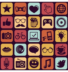 seamless pattern with trendy hipster icons vector image vector image