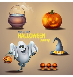 Set of different items for the holiday Halloween vector image