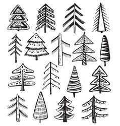 set of ornate doodle christmas trees vector image