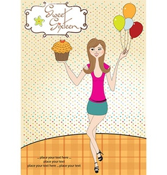 Sweet sixteen birthday card with young girl vector