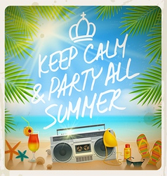 Tropical beach summer party - vintage design vector