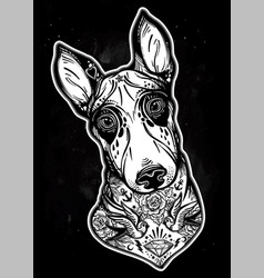 vintage style bull terrier in flash art tattoos vector image